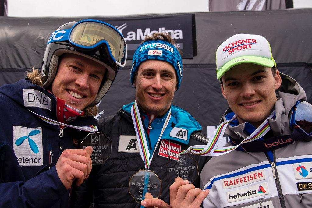 2015/16, BRENNSTEINER Stefan  (AUT), European Cup, FIS, GS, La Molina (SPA), MEILLARD Loic(SUI), Men, PATRICKSSON Axel William  (NOR), Season